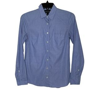 J Crew Boy's Solid Blue Shirt Dressy Cotton Button Down Long Sleeved Size 0